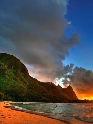 日落海洋景观手机壁纸