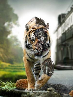 老虎数字艺术手机壁纸