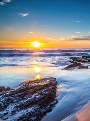 高清日落海滩手机壁纸