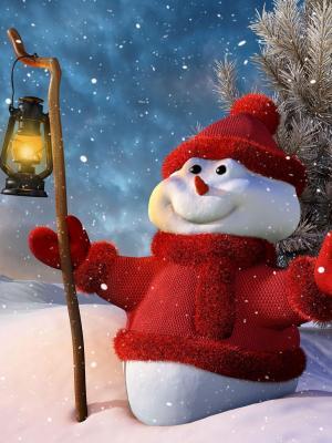 雪人灯移动壁纸