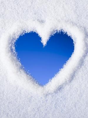 雪心脏移动墙纸