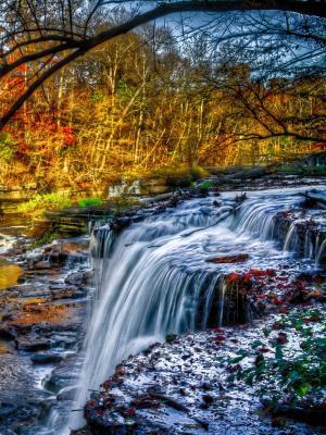 瀑布河流动壁纸