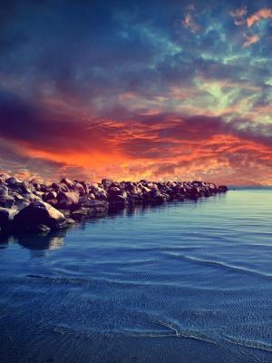 云彩河风景手机墙纸