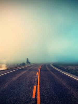 雾道路手机壁纸