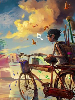 男孩自行车音乐手机壁纸