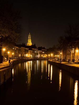 城市夜晚运河移动壁纸