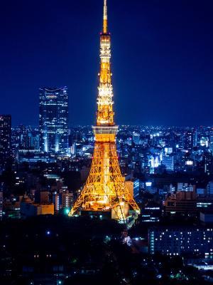 东京铁塔在晚上移动壁纸