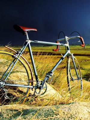 在风暴移动壁纸的老式自行车