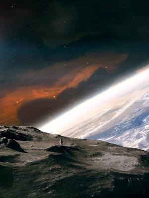 宇航员火山口移动壁纸