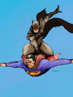 蝙蝠侠超人手机壁纸
