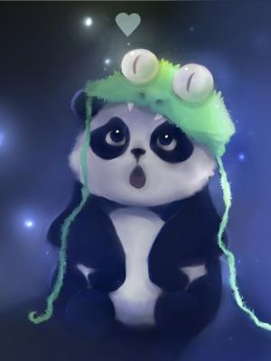 可爱的熊猫绘画手机壁纸