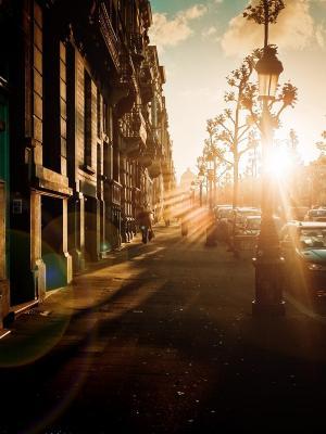 日落都市风景街道手机壁纸
