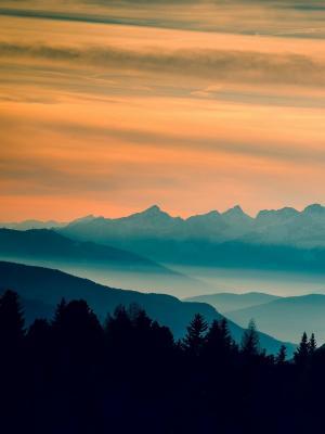 风景山日落移动壁纸
