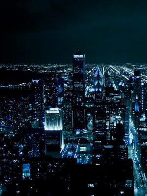 芝加哥晚上点亮手机壁纸