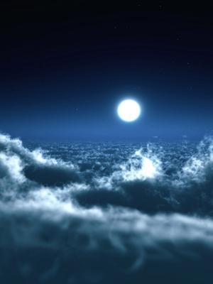 月亮在云彩手机壁纸