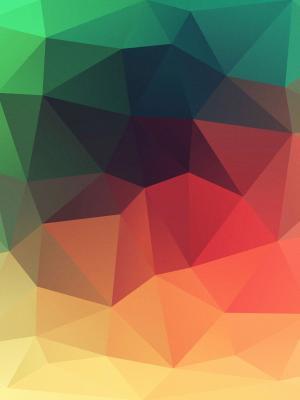 黄色到绿色多边形移动壁纸