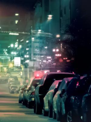 汽车和城市的灯光手机壁纸