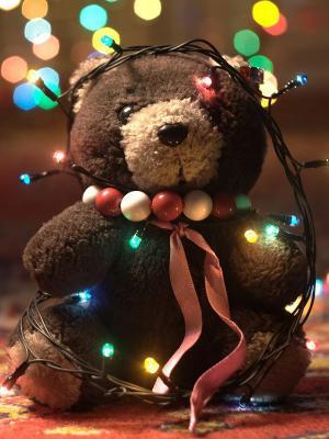 圣诞泰迪熊手机壁纸