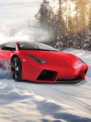兰博基尼漂流在雪地移动壁纸