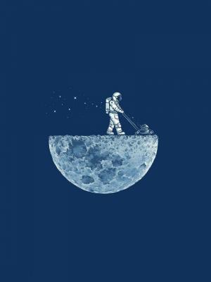 月亮宇航员割草机手机壁纸