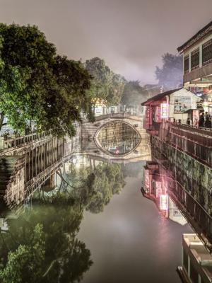 南翔古镇夜景上海手机壁纸