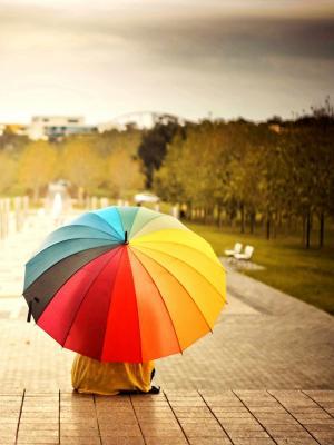 彩虹伞移动壁纸
