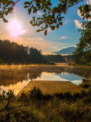 太阳升起克恩顿州奥地利Egelsee手机壁纸