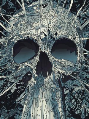 抽象的头骨图稿移动壁纸