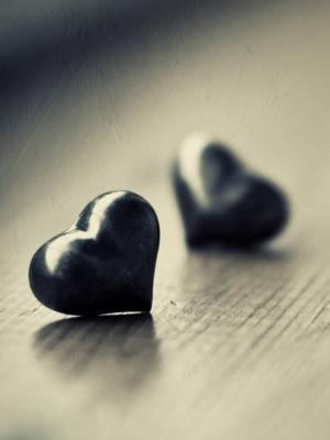 两个黑色的心移动壁纸