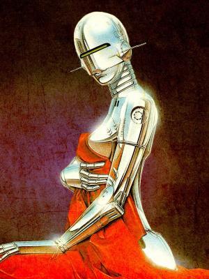 机器人复古插画手机壁纸