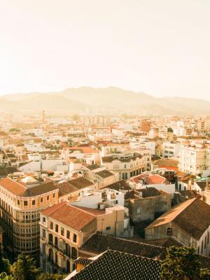 日落的美丽城市移动壁纸