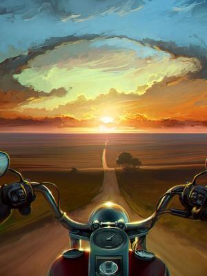 多色艺术品摩托车移动壁纸