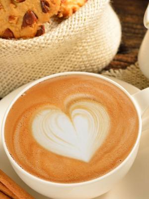 咖啡泡沫肉桂移动壁纸的心