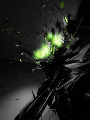 抽象的黑色绿色手机壁纸