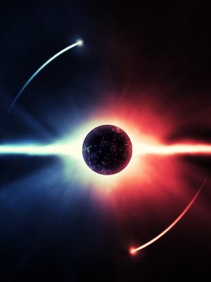 日食蓝红星星手机壁纸