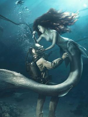 潜水员和美人鱼手机壁纸