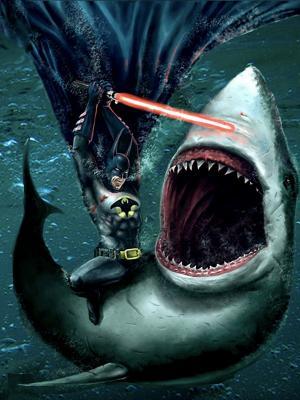 蝙蝠侠鲨鱼手机壁纸