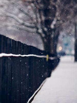 篱笆雪花雪花移动壁纸