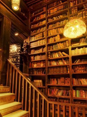 岩石图书馆流动墙纸的议院
