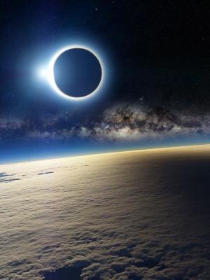 从太空移动壁纸日食