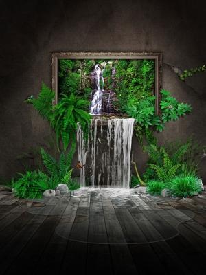 在房子艺术移动墙纸的瀑布