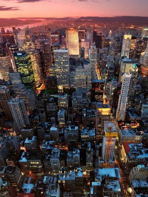 日落都市风景手机壁纸