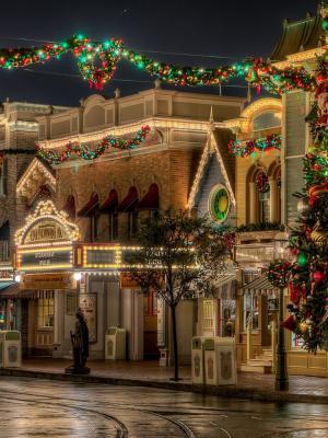 迪斯尼乐园圣诞手机壁纸