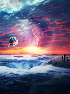 天堂夕阳海气球手机壁纸