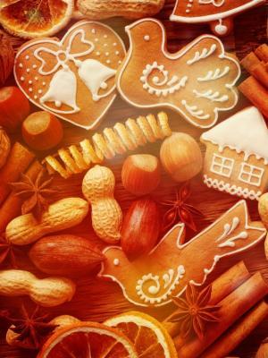 圣诞节姜饼饼干手机壁纸